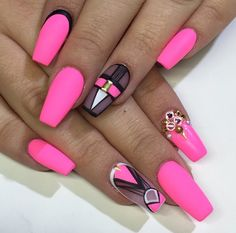 Matte hot pink coffin nails with design