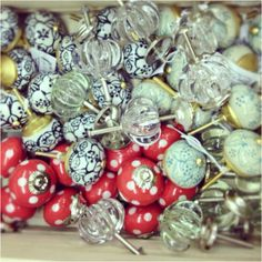 Lovely glass and ceramic cupboard knobs. Great for finishing off those Annie Sloan projects
