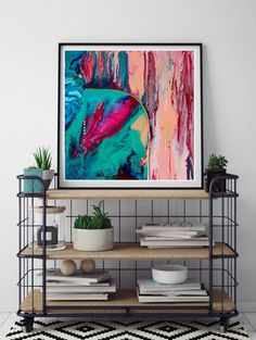 Square abstract painting print on canvas. Ready to hang. Fluid Art. Resin art print. Abstract wall art. Wall decor. Magenta turquoise pink. by RachaelHigbyArt on Etsy