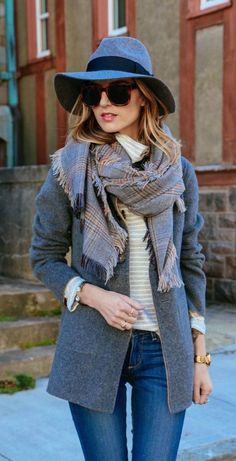 #fall #fashion / denim + gray