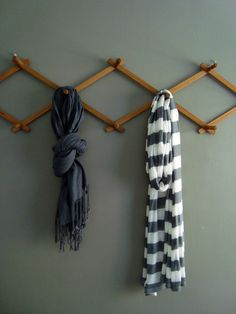 Scarf rack.....cute idea for organizing all the kids' school bags too!