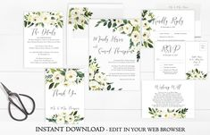 A beautiful White Floral Wedding Invitation Set. For a garden or botanical themed wedding.This Wedding Invitation Set is part of the Jassy collection. Instantly download and personalize this White Floral Wedding Invitation Set right in your web browser.  #floralweddinginvitation  #whitefloralweddinginvitation  #weddinginvitationset  #printableweddinginvitation  #gardenweddinginvitation