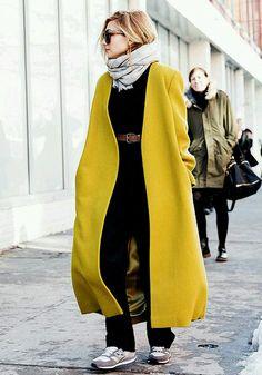 Winter street style fashion: Mustard yellow coat.