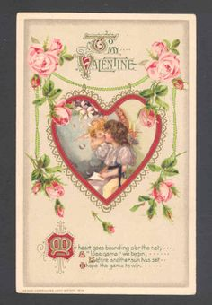 Winsch Cupid Kissing Lovely Lady Valentine's Day Heart Roses 1913 Postcard | eBay