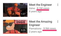 Parody of a Valve's Team Fortress 2 SFM short has more views than the original
