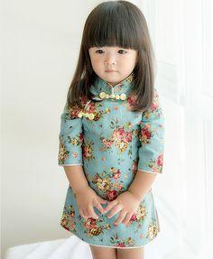 Cute Blue Signature Cotton Floral Pattern Qipao for Kid & Infant - iDreamMart.com