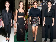 Watson went the most casual to sit front row at Giambattista Valli, wearing a draped black blouse and coordinating J Brand jeans At the Valentino show, she also chose black, but was definitely more daring in a two-piece lace design that showed off her midriff.She continued her chic streak in a navy Dior top with structured sleeves, floral print skirt and coordinating suede heels for the label's dinner party.