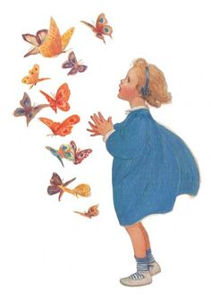 little girl with butterflies Jessie Willcox Smith Art And Illustration, Vintage Illustrations, Vintage Artwork, Vintage Images, Butterfly Kisses, Butterfly House, Butterflies, Vintage Children, Jessie