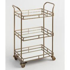 Realistic Antique Vintage Portable Drinks Trolley Bar Cart Tier Wine Whiskey Storage 36cm Furniture Cabinets & Cupboards