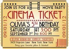 MOVIE NIGHT Birthday Party Themed Invitation size  4x6 or 5x7 --complete digital file--