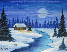 The original paint & sip art classes in Folsom, Sacramento & Santa Cruz, CA. Bring wine or beer & food to enjoy in the painting class. Come paint & sip with us! Winter Cabin, Winter Painting, Paint And Sip, Paint Party, Sacramento, Art Studios, Animation, Cork, Fashion