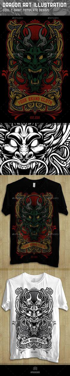 Dragon Art Illustration Tshirt Template Design
