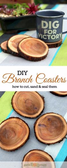 DIY Coasters - Natural Branch Coasters - Best Quick DIY Gifts and Home Decor - Easy Step by Step Tutorials for DIY Coaster Projects - Mod Podge, Tile, Painted, Photo and Sewing Projects - Cool Christmas Presents for Him and Her - DIY Projects and Crafts by DIY Joy http://diyjoy.com/diy-coasters