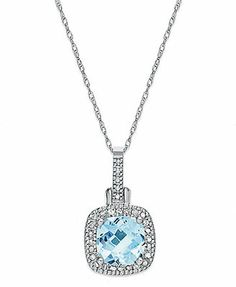 361a601db Macy's 10k White Gold Necklace, Aquamarine (1-1/2 ct. t.w.) and Diamond  (1/8 ct. t.w.) Cushion-Cut Pendant & Reviews - Necklaces - Jewelry &  Watches - ...