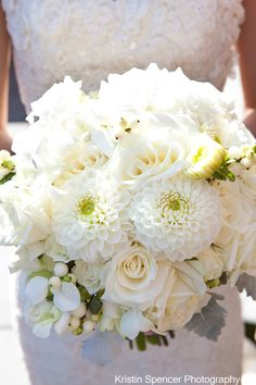 Not sure why, but this bouquet reminds me of you. do you want colorful or all-white for your own bouquet? White Dahlia Bouquet, Dahlia Bridal Bouquet, White Dahlias, White Wedding Bouquets, Bride Bouquets, Bridal Flowers, White Roses, Floral Wedding, White Flowers