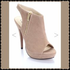 "Zip Up Bootie Heel Beautiful Side Zip Up Open Toe Bootie Heel. Gently Used / Excellent Condition. 5 1/2"" Heel.                    No Pay Pal  No Trades  Wild Rose Shoes Ankle Boots & Booties"