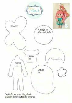 Risultato immagini per upper dhali dollsfelt dolls with free molds to print Craft Ideasfree sewing pattern for hot air balloon Felt Doll Patterns, Felt Ornaments Patterns, Felt Crafts Patterns, Sewing Patterns Free, Sewing Dolls, Felt Fabric, Felt Diy, Fairy Dolls, Felt Dolls