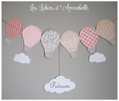 Guilande de montgolfières en tissu nuages PERSONNALISABLE