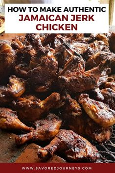 See how easy it is to make authentic Jamaican jerk chicken with spices you can find at home. It tastes just like the chicken you can get at a roadside stand in Jamaica. Try this easy recipe. Easy Jerk Chicken Recipe, Jerk Chicken Marinade, Jerk Recipe, Jerk Chicken Wings, Fried Chicken Recipes, Best Jamaican Jerk Chicken Recipe, Baked Chicken, Jamaican Cuisine, Jamaican Dishes