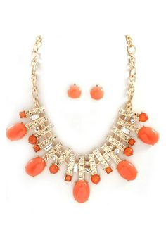 Necklace & Earrings in Orange & Gold.