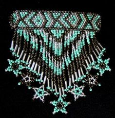 Native American Beadwork and Regalia | Indian Beaded Glass Leather Barrette Regalia Powwow Native American ...