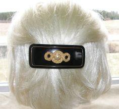 VTG HAIR CLIP GRIP BARRETTE HEAD PIECE LUCITE PLASTIC CHIC BLACK GOLD 3D FRANCE 38$