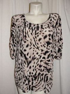 Travelers By Chico's Top 3 XL Brown Animal Print Tunic Shirt Ruched Elbow Sleeve #Chicos #Blouse #CasualCareer