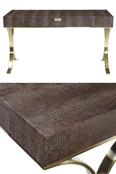 Bernhardt | Jet Set Desk, wrapped in leather with hornback crocodile embossing, steel base with brass plated finish
