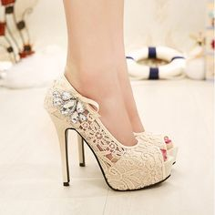 Dresswe.com SUPPLIES Fashion Rhinestone Net Peep-Toe High Heels  Prom Shoes (3)