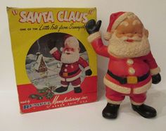 """Vintage Rempel Santa Claus Akron Ohio 10 1/4"""" H With Box Hard Rubber"""