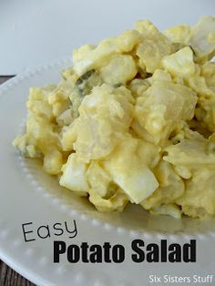 8 potatoes, cooked and diced into bite size pieces 8 eggs, hard boiled 3/4 cup dill or sweet pickles, diced 2 celery stalks, diced 1 cup mayo (I like to use Light Miracle Whip… yes I'm a Miracle Whip girl) 2 to 3 Tablespoons yellow mustard 1 tablespoon sugar 1 teaspoon white vinegar