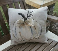 Elegant White Pumpkins Cottage Farmhouse Set Burlap and Rhinestone Holidays Hand-painted Pillow Cover No. Pumpkin Pillows, Fall Pillows, Diy Pillows, Decorative Pillows, Handmade Pillows, Soft Pillows, White Pumpkins, Painted Pumpkins, Fabric Pumpkins