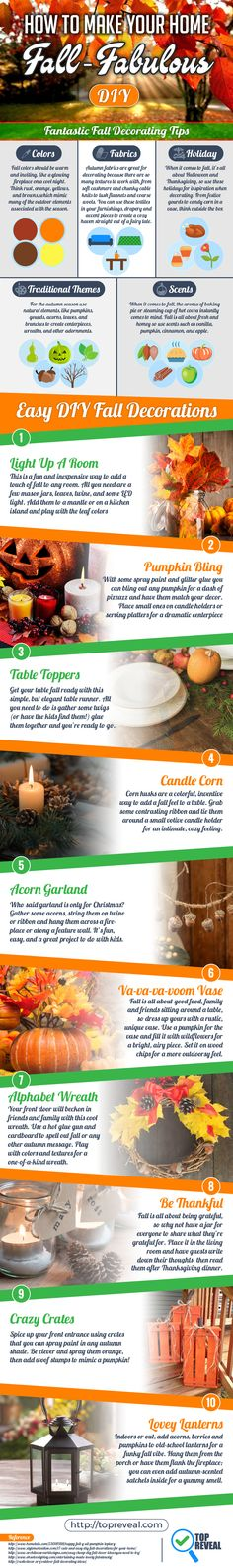 Capturing that fall-feeling in your home is easier than ever with our handy #Fall #DIY #Infographic. Many people want that just-baked apple pie scent when friends and family come to visit but don't know where to start.   Lucky for them, and you, we do and we're sharing it all right here. We'll explain why certain colors, like burnt orange and cream, can instantly take a space from spring to fall and tell you what scents you need to stock up on.   Read on to learn all that and more!