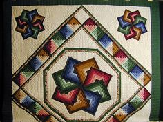 Green and Multicolor Star Spin Quilt
