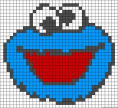 Free Cookie Monster hama perler bead pattern or Cross Stitch Chart