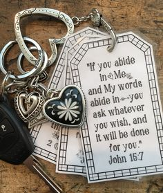 Today's Keyring Tags are on Abiding in Christ. Download the PDF below, print on paper or card stock and laminate for durability. Abiding Scripture Keyring Tags Enjoy! Blessings,