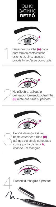 10 imagens que vão te ajudar a virar expert em delineador The retro kitten eye is a classic make and that values ​​the look. Make Up Dupe, Make Up Primer, Eye Make Up, Beauty Make Up, Beauty Care, Beauty Hacks, Makeup Goals, Makeup Tips, Hair Makeup