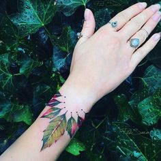 Leaves wrist tattoo - 50 Eye-Catching Wrist Tattoo Ideas <3 <3