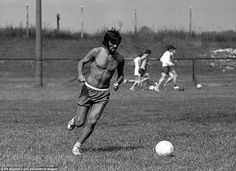 George Best training in Salford in 1969 - at the time, the Northern Irishman had the football world at his feet, helping inspire Manchester United to European Cup glory with a glorious Wembley win over Benfica a year earlier. But three years after this picture was taken, Best effectively retired from the game at the age of 26