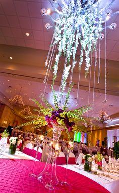 Florida Wedding Decorator, Indian Wedding Decorator, Mandap, Suhaag Garden, Green Orchids, Purple Hydrangeas, Orchid Chandelier