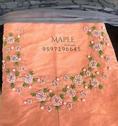 Bed of roses😊 🌹🌹🌹🌹 Blush pink crop top with satin embroidered floral shower accompanied with georgette lehenga ❤️ For… Zardozi Embroidery, Embroidery On Kurtis, Hand Embroidery Videos, Hand Embroidery Flowers, Hand Work Embroidery, Simple Embroidery, Embroidery Fashion, Beaded Embroidery, Embroidery Stitches