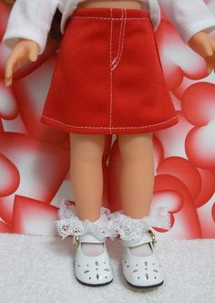"""Wonderful World of Dolls - Fits 13"""" Corolle Les Cheries Doll - Red Jean Skirt with Fly Front ... D1005, $8.50 (http://www.wonderfulworldofdolls.biz/fits-13-corolle-les-cheries-doll-red-jean-skirt-with-fly-front-d1005/)"""