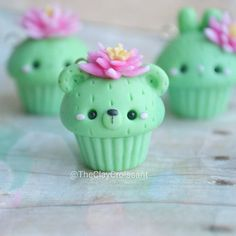 Cactus Themed Animal Cupcakes, Polymer Clay, Clay Crafts, Food, Food Jewelry, Pendants, Handmade, Cactus Cacti, Flowers, Nature, Cupcake, Bear, Animals