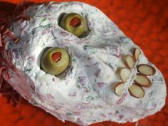 Needing to serve up some ghoulish treats at Halloween, I created a creepy skull shaped dried beef ball to scare my subjects. Dip Recipes, Free Recipes, Creepy Halloween, Served Up, Serving Platters, Dips, Skull, Gluten Free, Eat