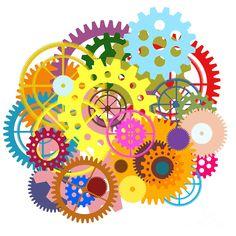 Gears Wheels Design  Painting  - Gears Wheels Design  Fine Art Print