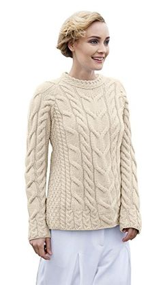 Ladies Irish Multi Cabled Raglan Super Soft Merino Wool Sweater XSmall Natural -- For more information, visit image link.(This is an Amazon affiliate link)