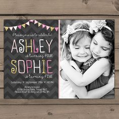 joint birthday invitation or thank you card with bold modern