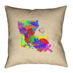 """Ivy Bronx Austrinus Louisiana Love Watercolor Double Sided Print Pillow Size: 26"""" x 26"""", Type: Cover, Fill Material: Spun Polyester"""