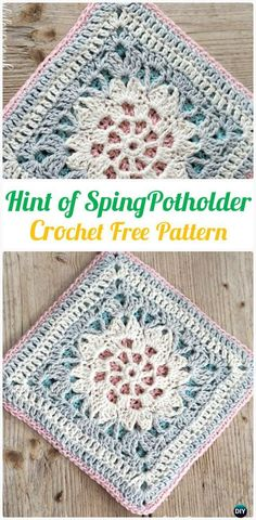 Crochet Hint of Spring Potholder Free Pattern - Crochet Pot Holder Hotpad Free Patterns