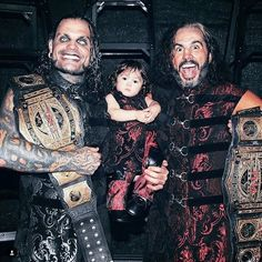 Brothers Matt and Jeff Hardy with Matt's son Maxel at TNA's Bound For Glory PPV #WWE